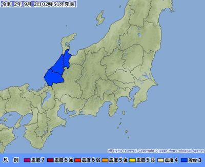 震度速報 令和2年9月2日 2時51分 気象庁発表