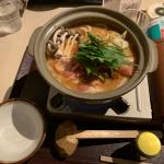 豚キムチ鍋焼きうどん 「万さく」高岡店